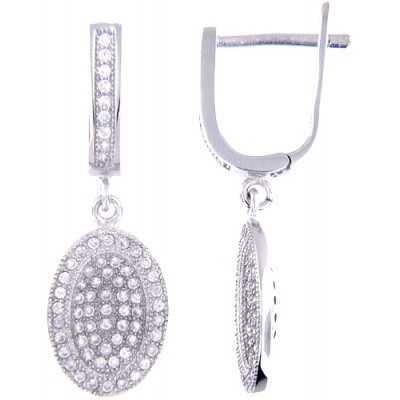 Sterling Silver Earrings with Micro Set Cubic Zirconia