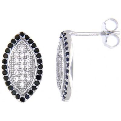 Sterling Silver Earrings with Micro Set Black & Whiter Cubic Zirconia