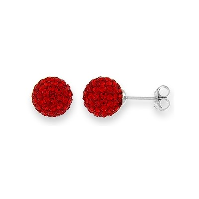 Sterling Silver Earrings with Crystals- 10MM