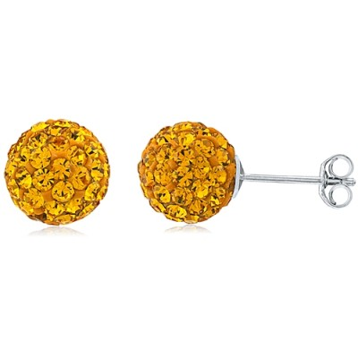 Sterling Silver Earrings with Crystals- 8MM