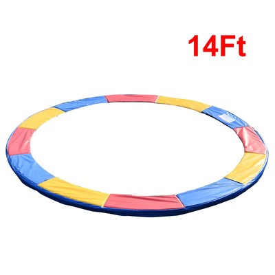 14FT Trampoline Pad Safety Mat Round Enclosure Frame Replacement Exercise Red and Yellow and Blue