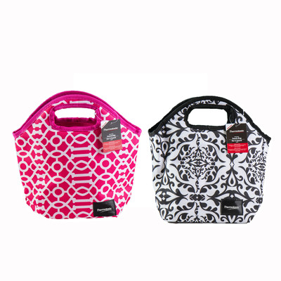 Thermotastic Insulated Lunch Bag 2pc Set (Black&White and Pink&White)