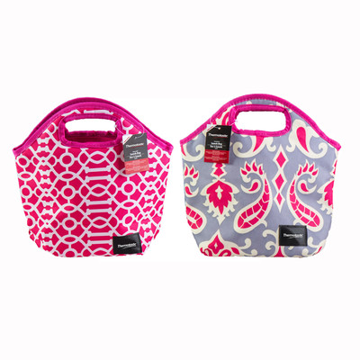 Thermotastic Insulated Lunch Bag 2pc Set (Pink&Grey and Pink&White)