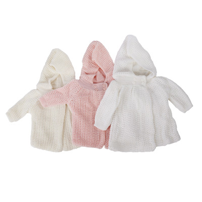 Knit Coat - Ivory, Pink or White