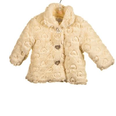 Heart Embossed Fur Jacket - Pink