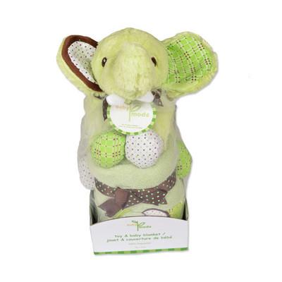 Elephant Plush & Blanket Gift Set - Green