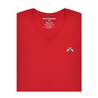Chainsaw Brands Red Pima Cotton V-Neck