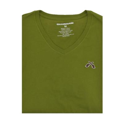 Chainsaw Brands Olive Green Pima Cotton V-Neck