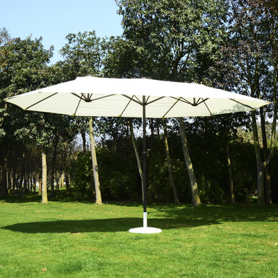 15' Double Sized Patio Umbrella Cover Market Sun Shade Beach Outdoor Aluminum Cream White