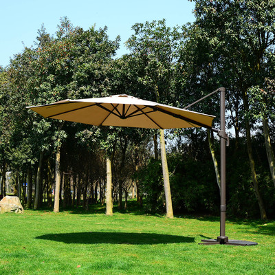 10' Patio Hanging Umbrella Offset Garden Market Canopy Cover Khaki