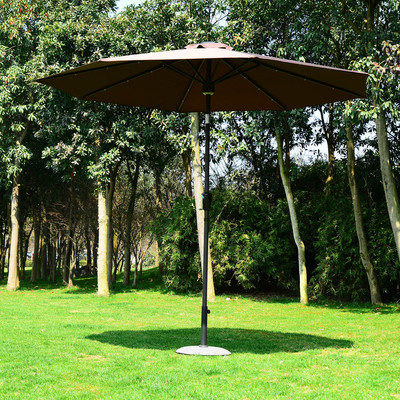 9' Solar LED Patio Umbrella Outdoor Market Garden Sunshade w/Bluetooth Coffee