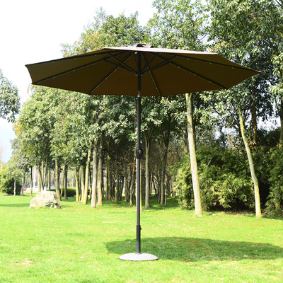 9' Patio Solar LED Umbrella Outdoor Market Garden Parasol Brown & Coffee