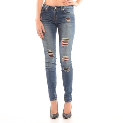 Destructed Skinny Jean In Vintage Red Buffalo Check