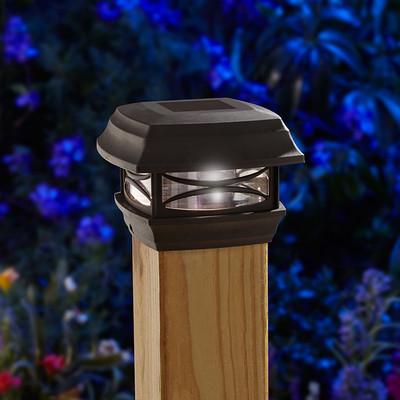 Moonrays Solar Powered LED Postcap Light, 4-inch by 4-inch, Black (91253)