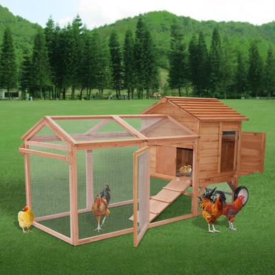 "96.5"" Wood Chicken Coop Hen House Deluxe Cage Nesting Box Run Backyard"
