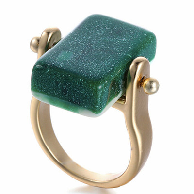 Forrest Green Resin and Gold Flip Ring SALE