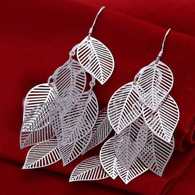 Silver Plated Chandelier Leaf Earrings SALE