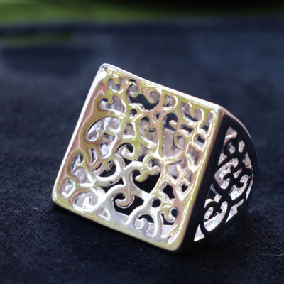 Silver Plated Square Filigree Cocktail Ring