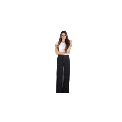 Black/White Straight Cut Palazetto Pants