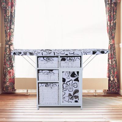 2-in-1 Laundry Organizer Ironing Storage Board Shelving Unit w/Baskets