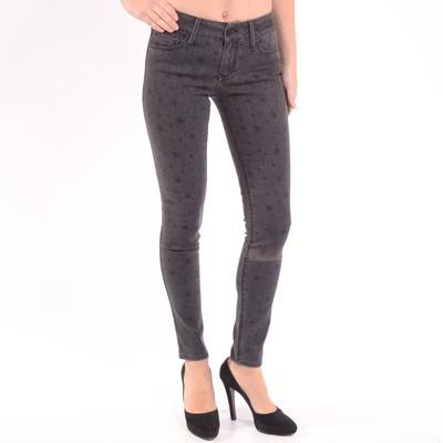 Black Jewel Mid Rise Skinny Leg Jeans In Smokey Distressed