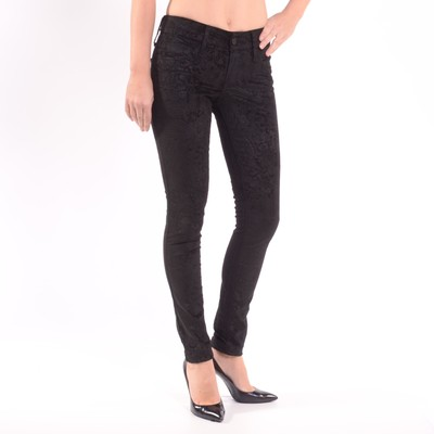 Paisley Cord Mid Rise Skinny Leg Jeans In Black