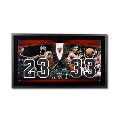 "Michael Jordan & Scottie Pippen Dual Signed Chicago Bulls Framed Presentation - ""20th Anniversary Championship Numbers Piece"" - Limited to 72"