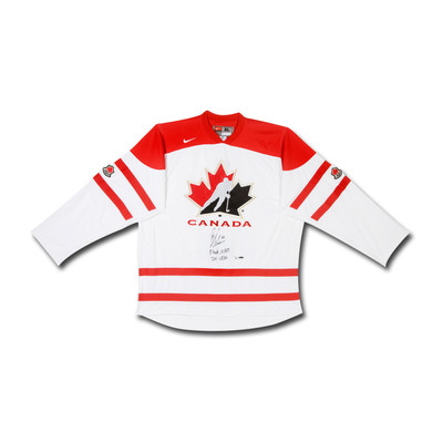 "Brayden Schenn Inscribed ""8 Goals, 10 Assists 2011 WJHC"" Canada White Jersey  - Limited to 10"