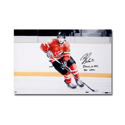 "Brayden Schenn Signed ""8 Goals, 10 Asts 2011 WJHC"" Team Canada 24x16 Photo  - Limited to 25"