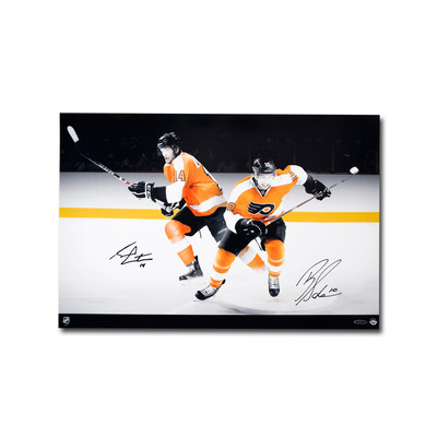 Brayden Schenn & Sean Couturier Dual Signed Philadelphia Flyers 24x14 Photo
