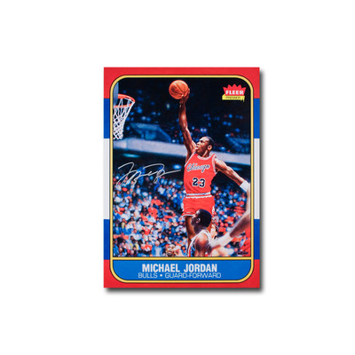"Michael Jordan Autographed ""Fleer Rookie Card Blow Up"""