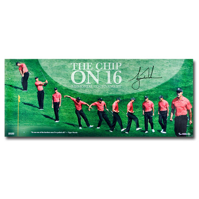 "Tiger Woods Autographed 36x15 ""The Chip on Sixteen"" Panoramic Photo  - Limited to 116"