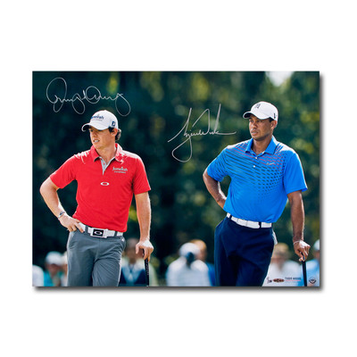 "Tiger Woods and Rory McIlroy Dual Signed ""Focused"" 24x18 Photo  - Ltd. to 100"