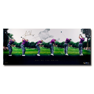 "Tiger Woods Autographed ""Art Of The Swing"" 36x15 Collage  - Limited to 250"