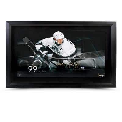 "Wayne Gretzky Signed Acrylic Hockey Stick Blade - LA Kings ""Motion"" Photo   - Framed - Limited to 199"