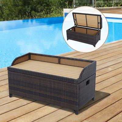 Patio Rattan Storage Bench Wicker Box Organizer Outdoor Indoor Container Furniture