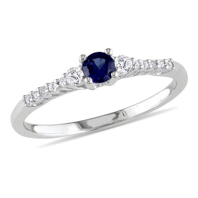 0.05 Carats Diamond And Created Sapphire Ring (0.05 Cttw, G-H Color, I2-I3 Clarity)