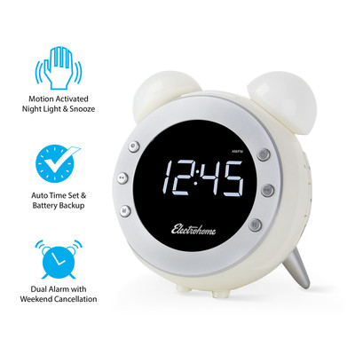 Electrohome Retro Alarm Clock Radio with Motion Activated Night Light and Snooze (CR35W) (061783263860)