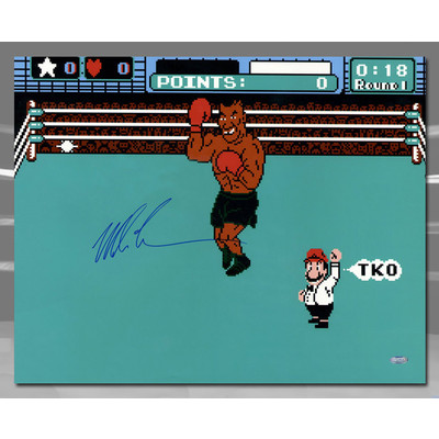 Mike Tyson Autographed Boxing Punch Out Video Game 16x20 Photo: Steiner COA