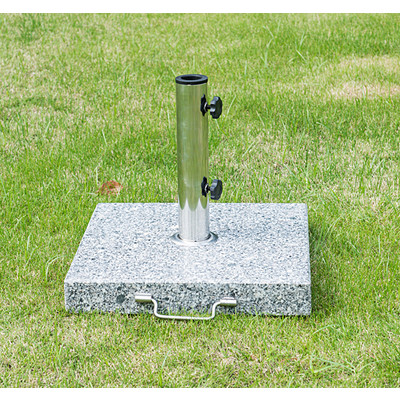 "16.5"" Marble Umbrella Stand Market Square Heavy Holder Base w/ Wheels"