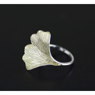 Rose Gold and Silver Lotus Leaf Ring