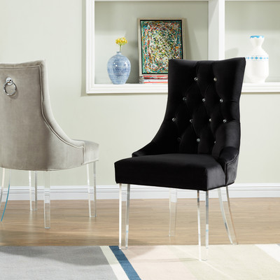 !NSPIRE CRYSTAL STUDDED VELVET ACCENT CHAIRS WITH ACRYLIC LEGS - BLACK