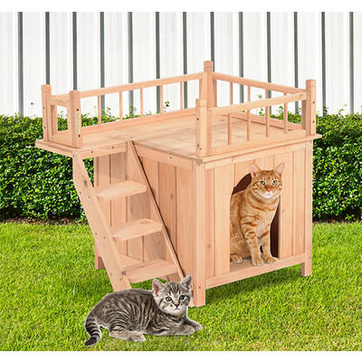 Wood Pet House Cat Tree 2-Story Small Dog Puppy Bed Platform Outdoor Kennel With Stair