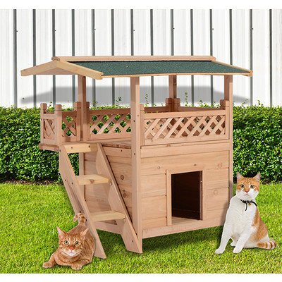 Pet House Wood Cat Furniture Condo Small Dog Bed Shelter Canopy Outdoor With Roof