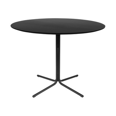 "Kanto GRACE 39.4"" Round Dining Table with Black Legs (Black)"