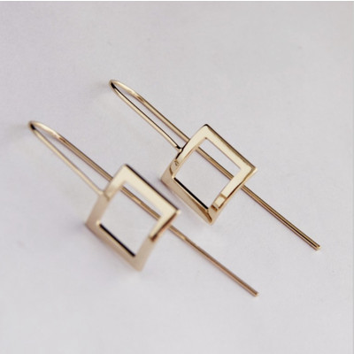 Gold Square Drop Earrings SALE