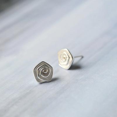 Sliver Paper Rose Stud Earrings