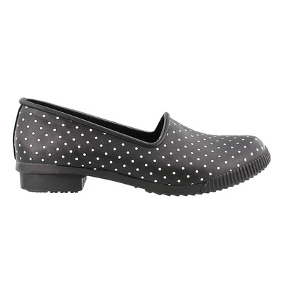 Women's Cougar 'Ruby Rubber Slip-On' Garden Shoe in Black Polka Dot