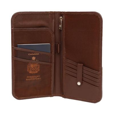 Genuine Leather Bi-fold ticket wallet, Dark Brown