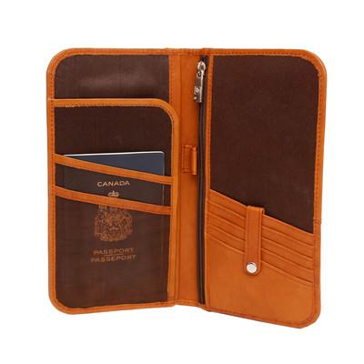 Genuine Leather Bi-fold ticket wallet, British Tan